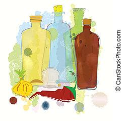 Botellas de color agua pimienta y vector de cebolla