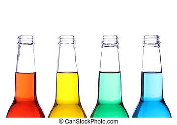 Botellas de color aisladas