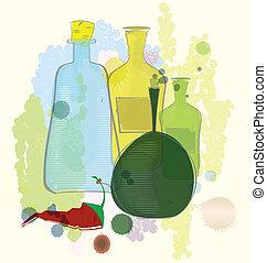 Botellas de color de agua y vector de pimienta rojo