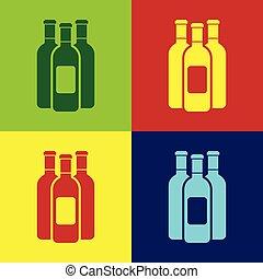 Botellas de color de icono de vino aislado en colores. Diseño plano. Ilustración de vectores