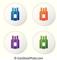 Botellas de color de icono de vino aislado en el fondo blanco. Pon el icono de color en los botones del círculo. Ilustración de vectores
