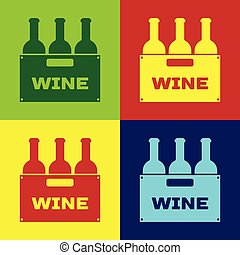 Botellas de color de vino en un icono de caja de madera aislado en colores. Botellas de vino en un ícono de caja de madera. Diseño plano. Ilustración de vectores