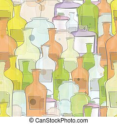 Botellas de colores de agua, vector sin señales