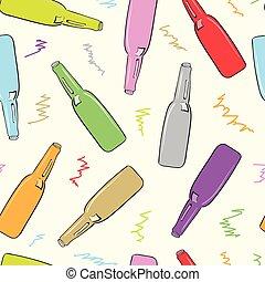 Botellas de colores sin costura
