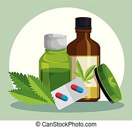 Botellas de cristal de cannabis con pomada y pastillas medicinales