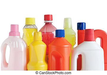 Botellas de detergente plástico
