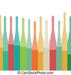 Botellas de fondo colorido
