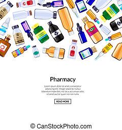 Botellas de medicina Vector Farmacia y píldoras ilustraciones de antecedentes