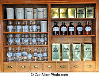 Botellas de olor vacío en la vieja farmacia