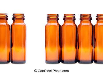 Botellas de vidrio marrón