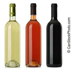 Botellas de vino en blanco sin etiquetas