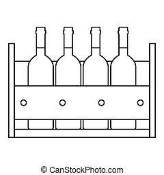 Botellas de vino en un ícono de caja