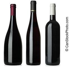Botellas de vino tinto no tienen etiquetas