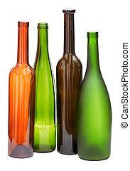 Botellas de vino vacío de color aisladas