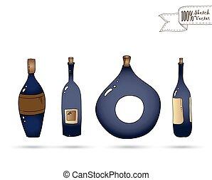 Botellas de vino Vector. Estilo de garabato.