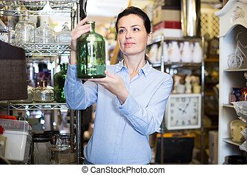 botellas, decorativo, mujer, vidrio, chooses