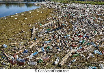 botellas del agua, plástico