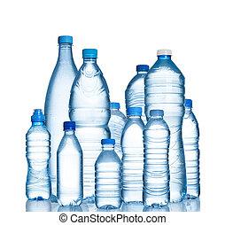 botellas del agua, plástico, muchos