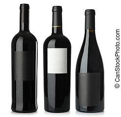 Botellas en blanco de vino tinto