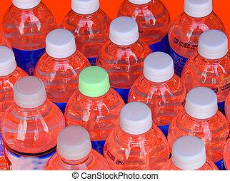 Botellas en rojo