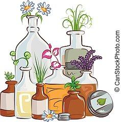 Botellas ilustraciones de medicina herbal