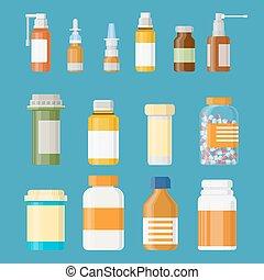 Botellas medicinales con etiquetas y pastillas.