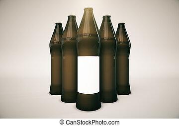 Botellas negras con etiqueta en blanco