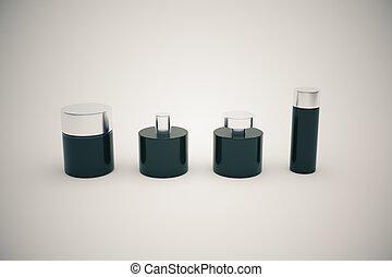 Botellas negras de fondo gris