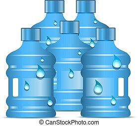 Botellas plásticas con agua potable limpia