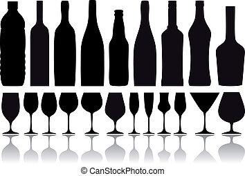 botellas, vector, anteojos, vino