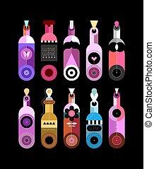 botellas, vino, vector, ilustración