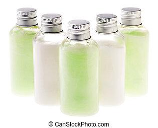 botellas, y, aislado, loción, verde blanco