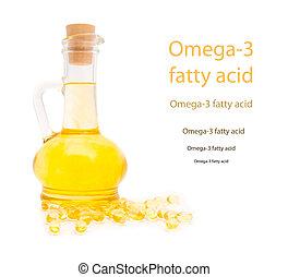 Botellas y cápsulas gelatinosas con el aceite de hígado de bacalao