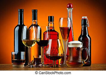 Botellas y copas de alcohol