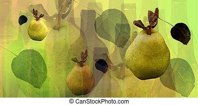 Botellas y peras