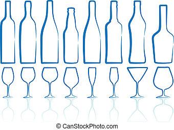 Botellas y vasos