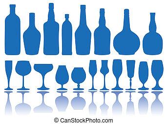 Botellas y vasos, vector