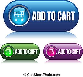 botones, agregar, vector, carrito