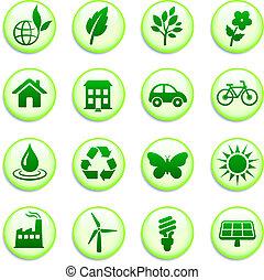 Botones ambientales verdes