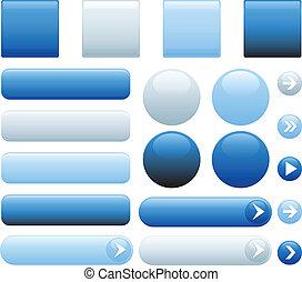 Botones azules de Internet