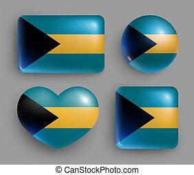 botones, brillante, conjunto, bandera de bahamas, país