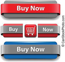 botones, comprar, conjunto
