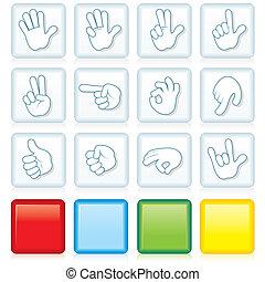 Botones con señales de mano