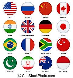 botones, conjunto, -, 1, banderas, redondo
