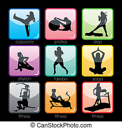 botones, conjunto, condición física