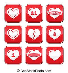 botones, corazones, conjunto, amor, valentines