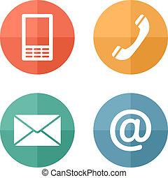 Botones de contacto fijados, sobre, móvil, teléfono, correo