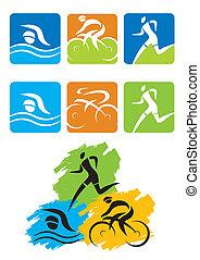 Botones de iconos de triatlón