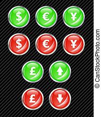 Botones de interfaz del vector para el tema del intercambio de moneda. Fácil de editar, de cualquier tamaño. Aqua Web 2.0