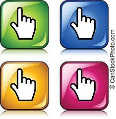Botones de mano suaves del vector
